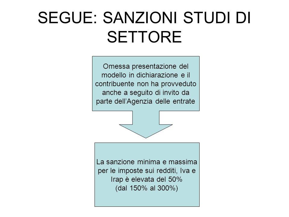 SEGUE: SANZIONI STUDI DI SETTORE