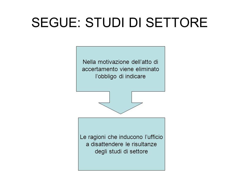 SEGUE: STUDI DI SETTORE