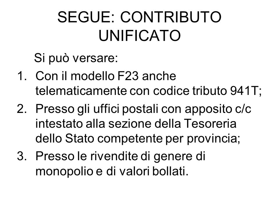 SEGUE: CONTRIBUTO UNIFICATO