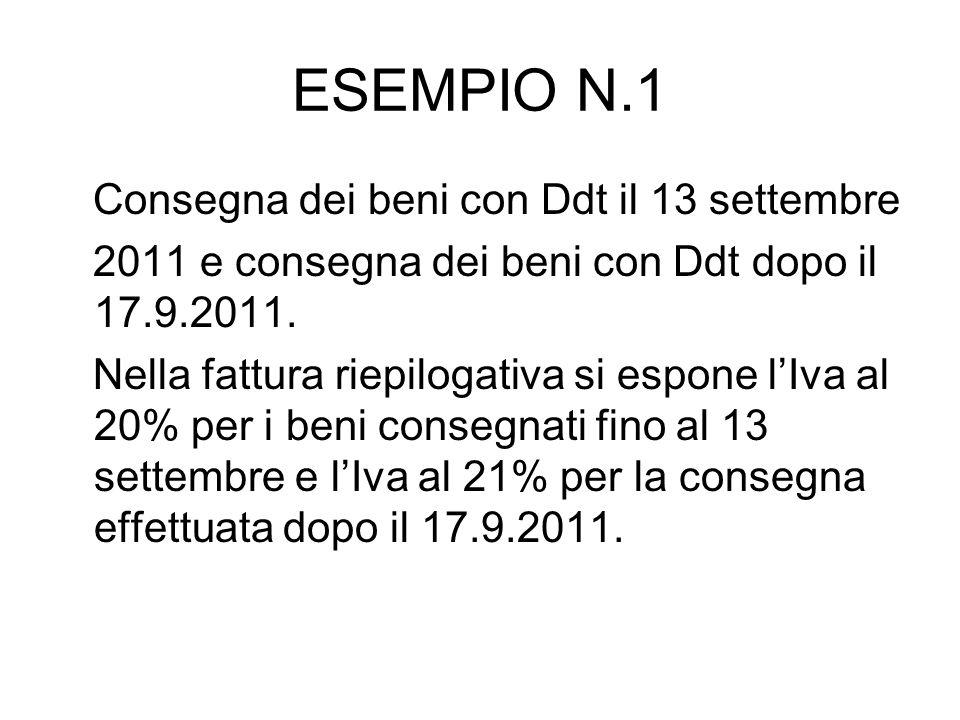 ESEMPIO N.1 Consegna dei beni con Ddt il 13 settembre