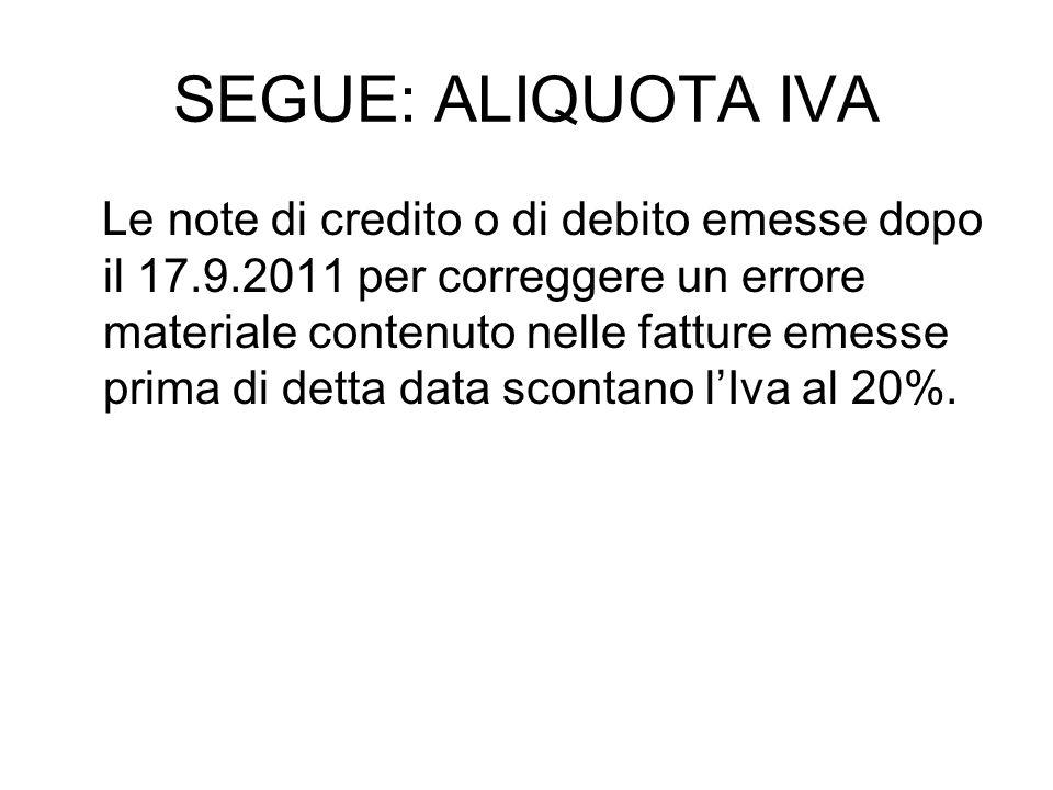SEGUE: ALIQUOTA IVA