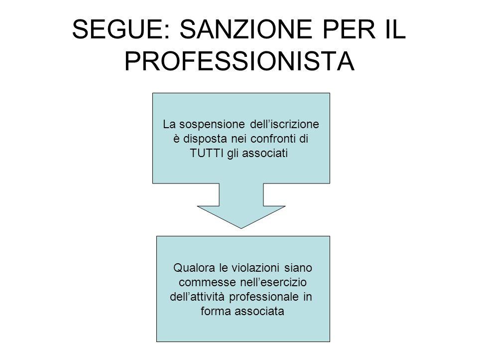 SEGUE: SANZIONE PER IL PROFESSIONISTA