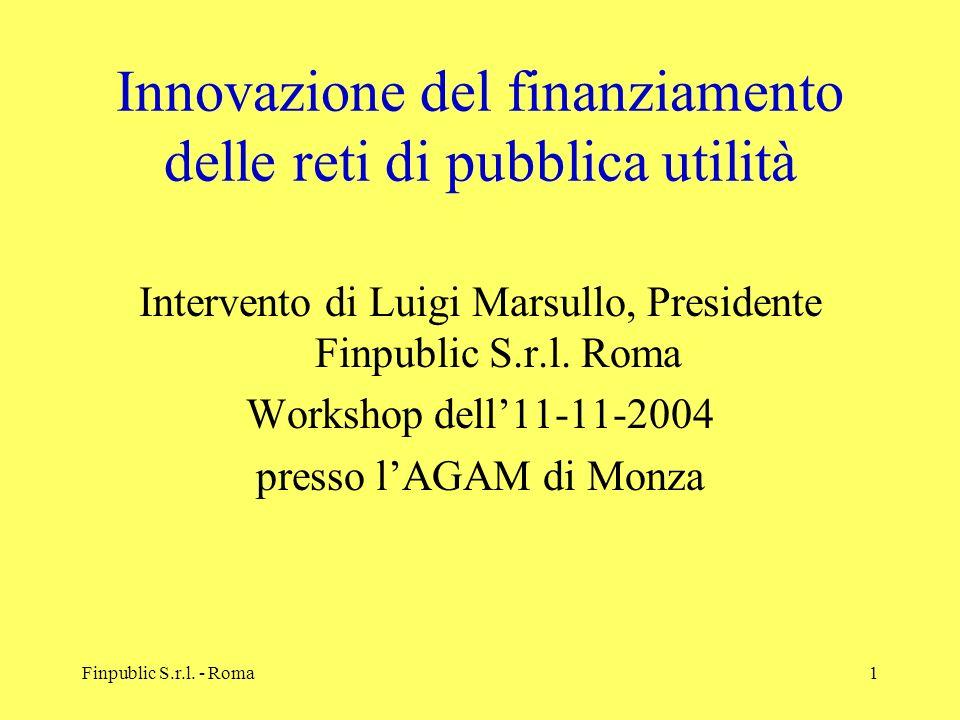 Innovazione del finanziamento delle reti di pubblica utilità