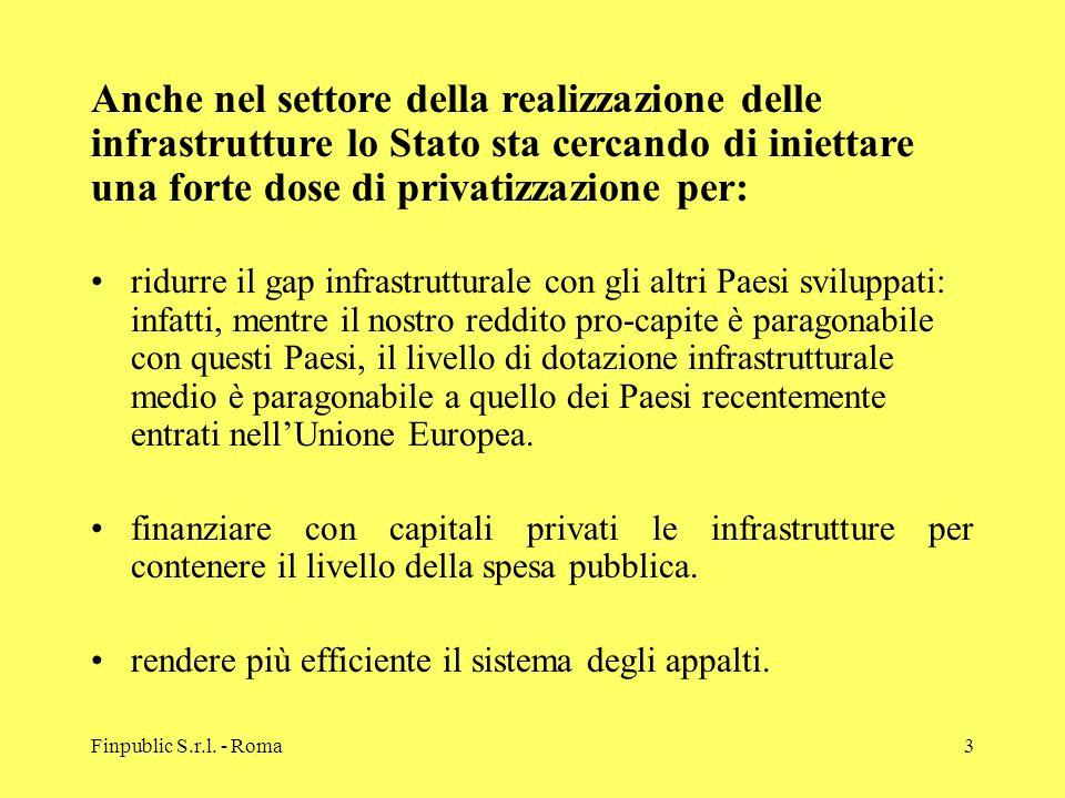 Anche nel settore della realizzazione delle infrastrutture lo Stato sta cercando di iniettare una forte dose di privatizzazione per: