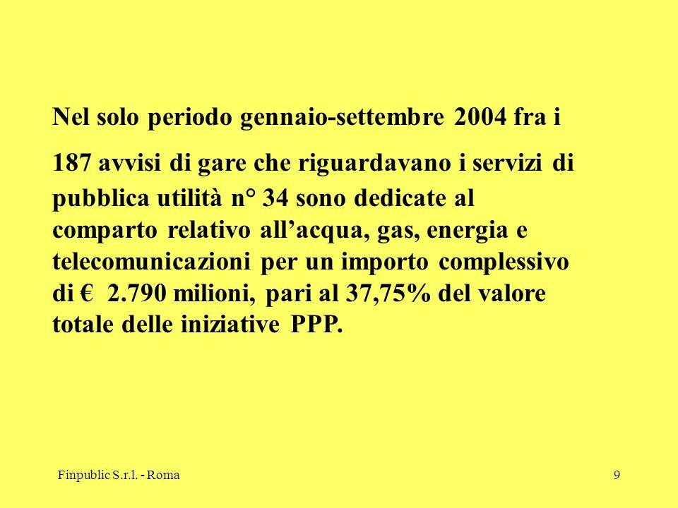 Nel solo periodo gennaio-settembre 2004 fra i 187 avvisi di gare che riguardavano i servizi di pubblica utilità n° 34 sono dedicate al comparto relativo all'acqua, gas, energia e telecomunicazioni per un importo complessivo di € 2.790 milioni, pari al 37,75% del valore totale delle iniziative PPP.