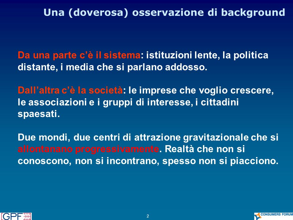 Una (doverosa) osservazione di background
