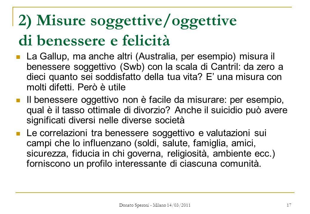 2) Misure soggettive/oggettive di benessere e felicità