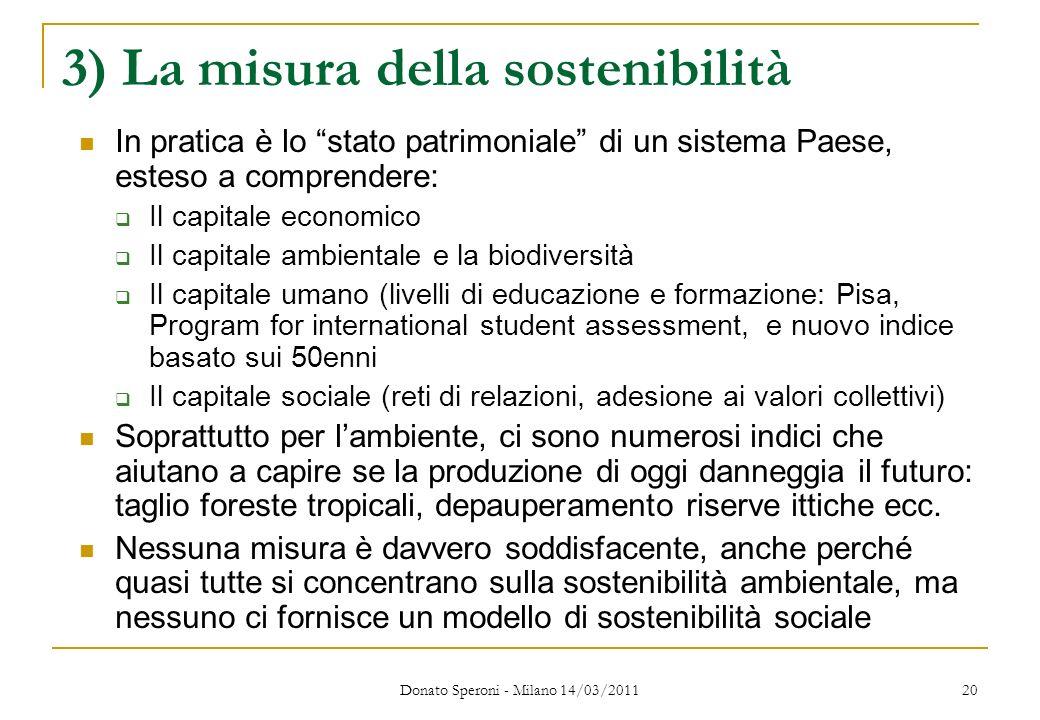 3) La misura della sostenibilità