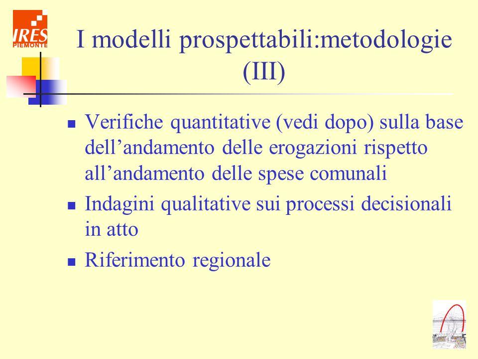 I modelli prospettabili:metodologie (III)