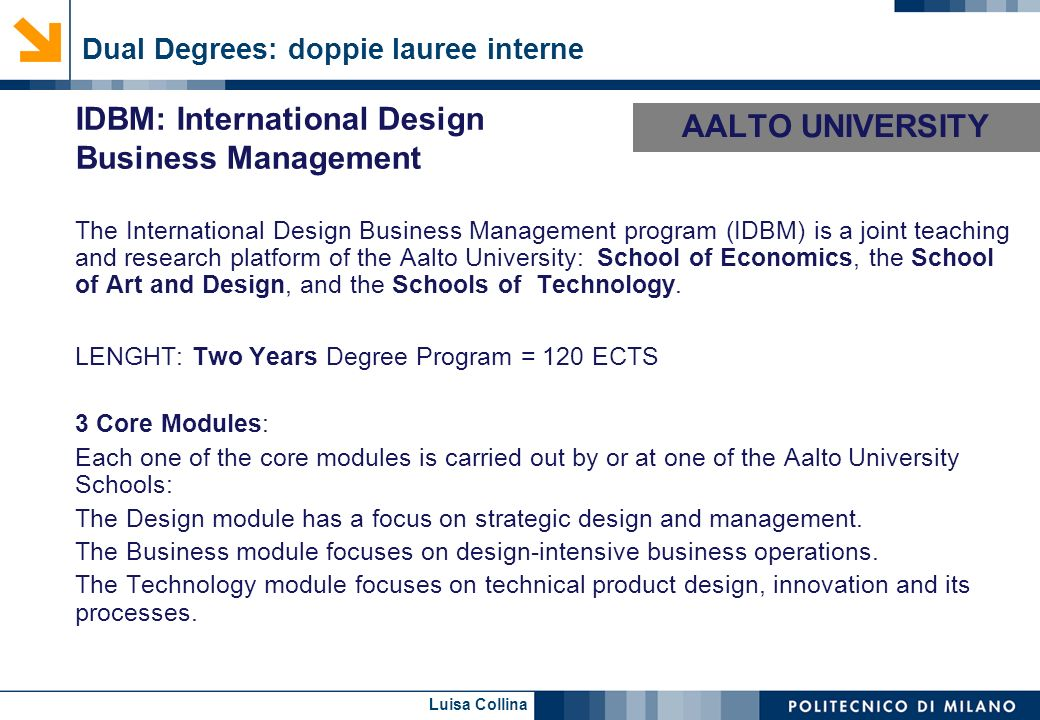AALTO UNIVERSITY IDBM: International Design Business Management