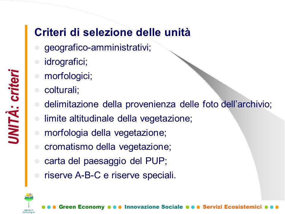 UNITÀ: criteri Criteri di selezione delle unità