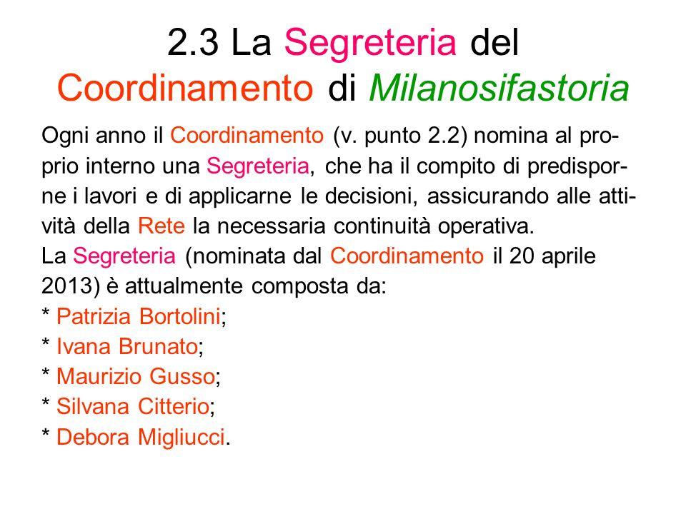 2.3 La Segreteria del Coordinamento di Milanosifastoria
