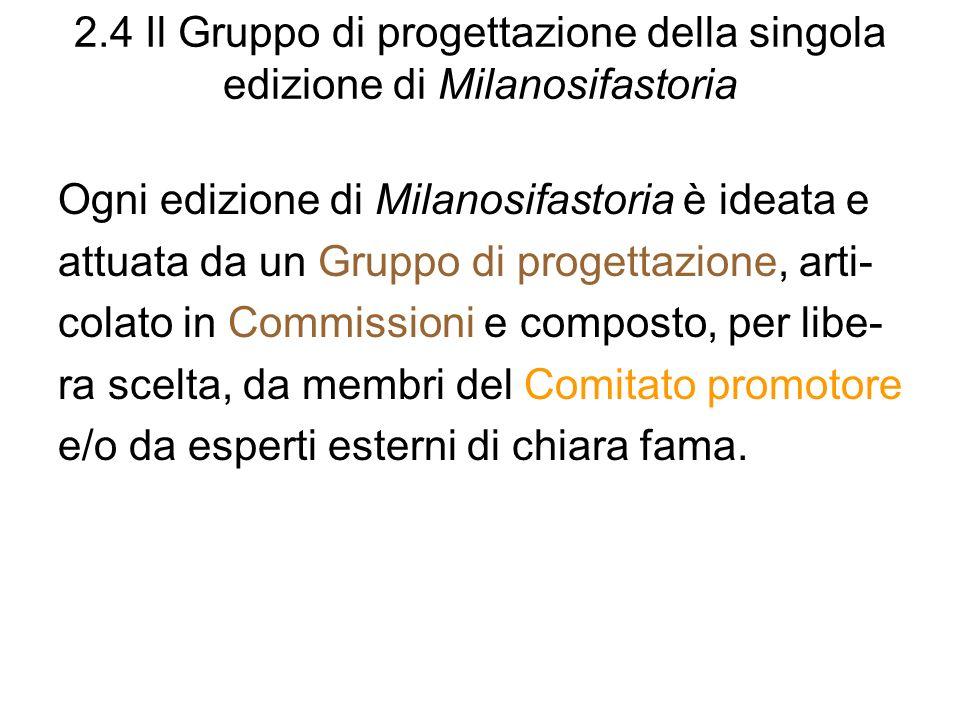 2.4 Il Gruppo di progettazione della singola edizione di Milanosifastoria