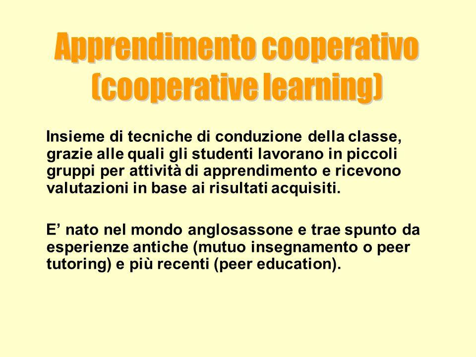 Apprendimento cooperativo (cooperative learning)