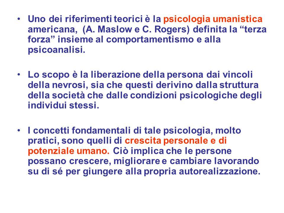 Uno dei riferimenti teorici è la psicologia umanistica americana, (A