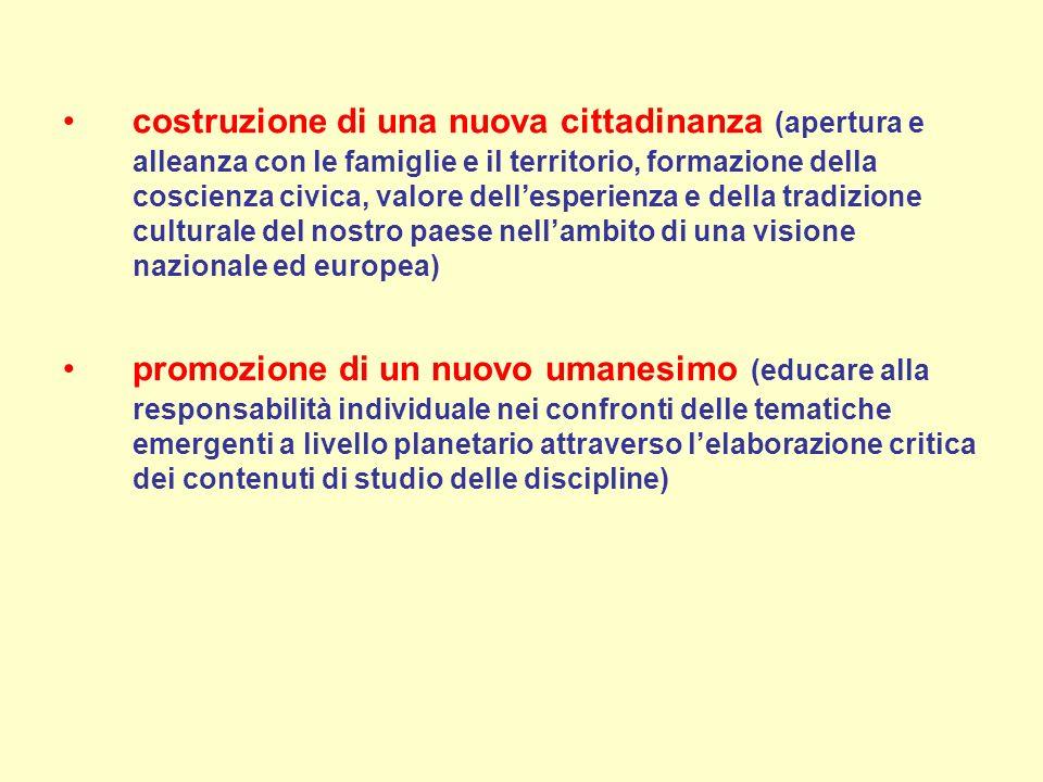 costruzione di una nuova cittadinanza (apertura e alleanza con le famiglie e il territorio, formazione della coscienza civica, valore dell'esperienza e della tradizione culturale del nostro paese nell'ambito di una visione nazionale ed europea)
