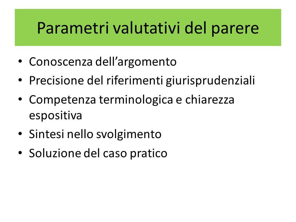 Parametri valutativi del parere