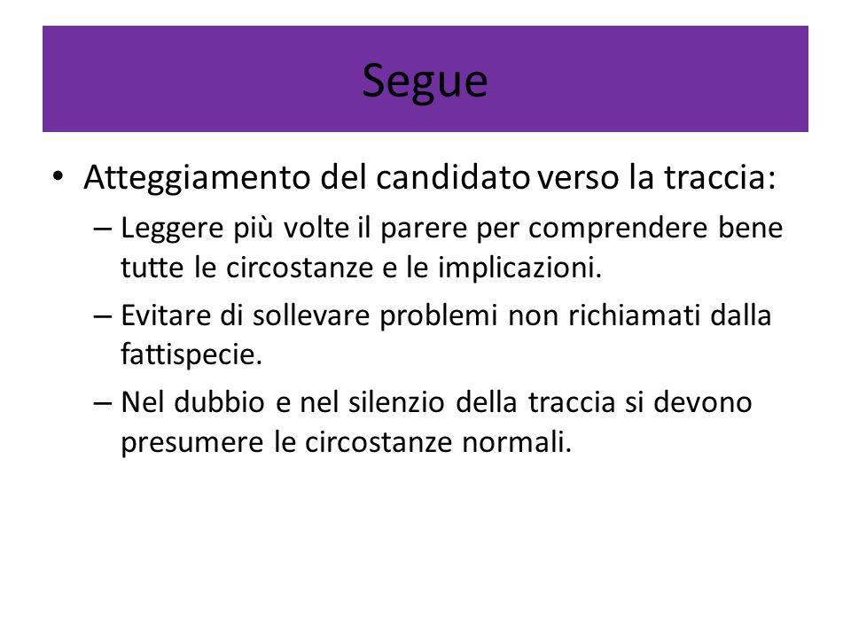 Segue Atteggiamento del candidato verso la traccia: