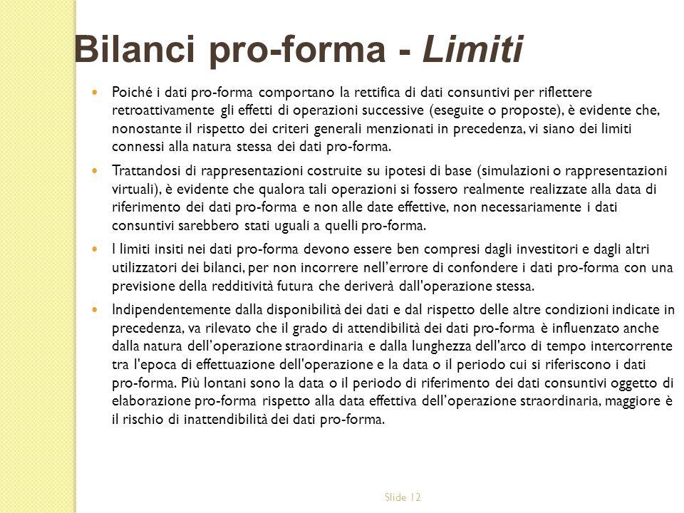 Bilanci pro-forma - Limiti