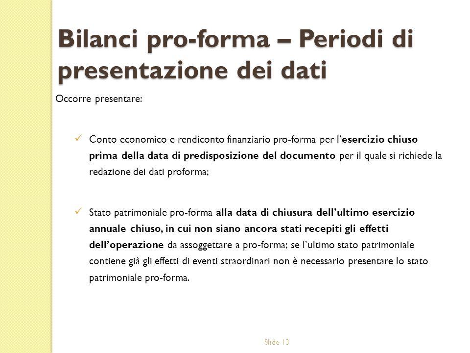 Bilanci pro-forma – Periodi di presentazione dei dati