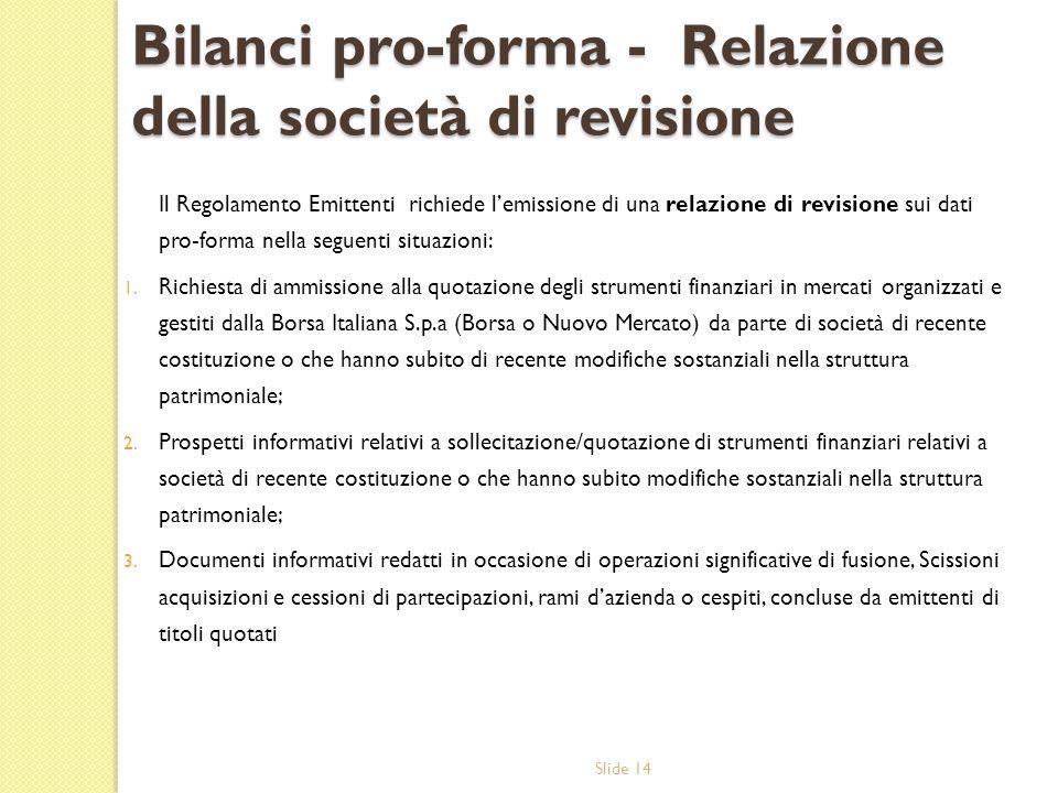 Bilanci pro-forma - Relazione della società di revisione
