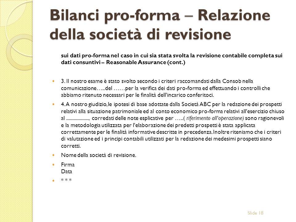 Bilanci pro-forma – Relazione della società di revisione