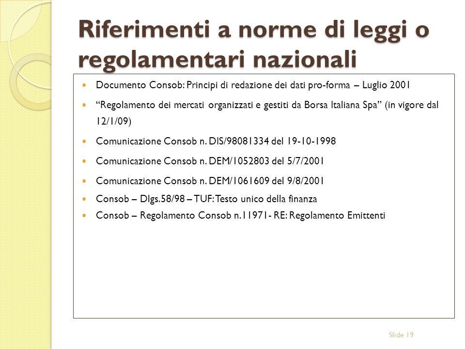 Riferimenti a norme di leggi o regolamentari nazionali