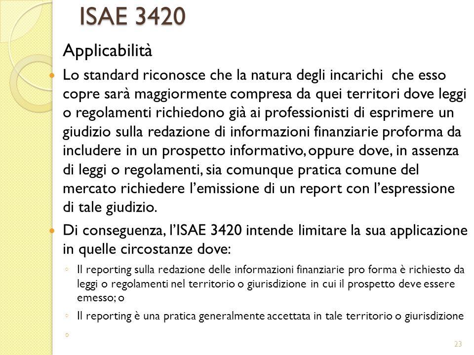 ISAE 3420 Applicabilità.