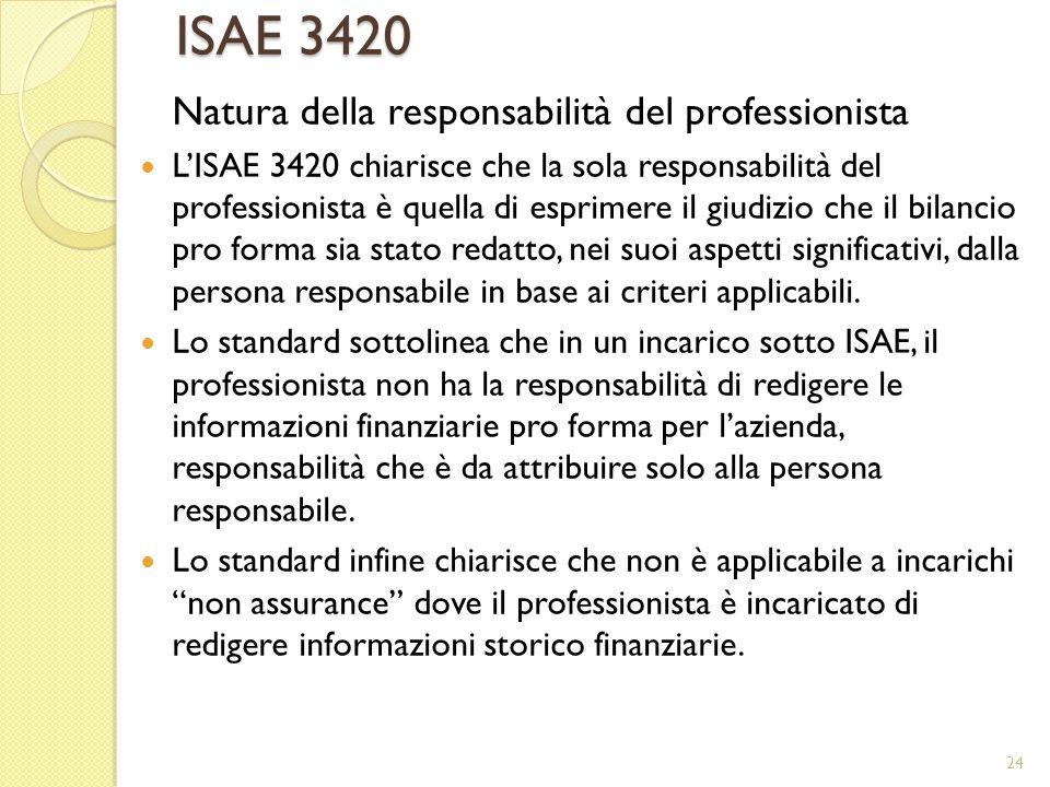 ISAE 3420 Natura della responsabilità del professionista