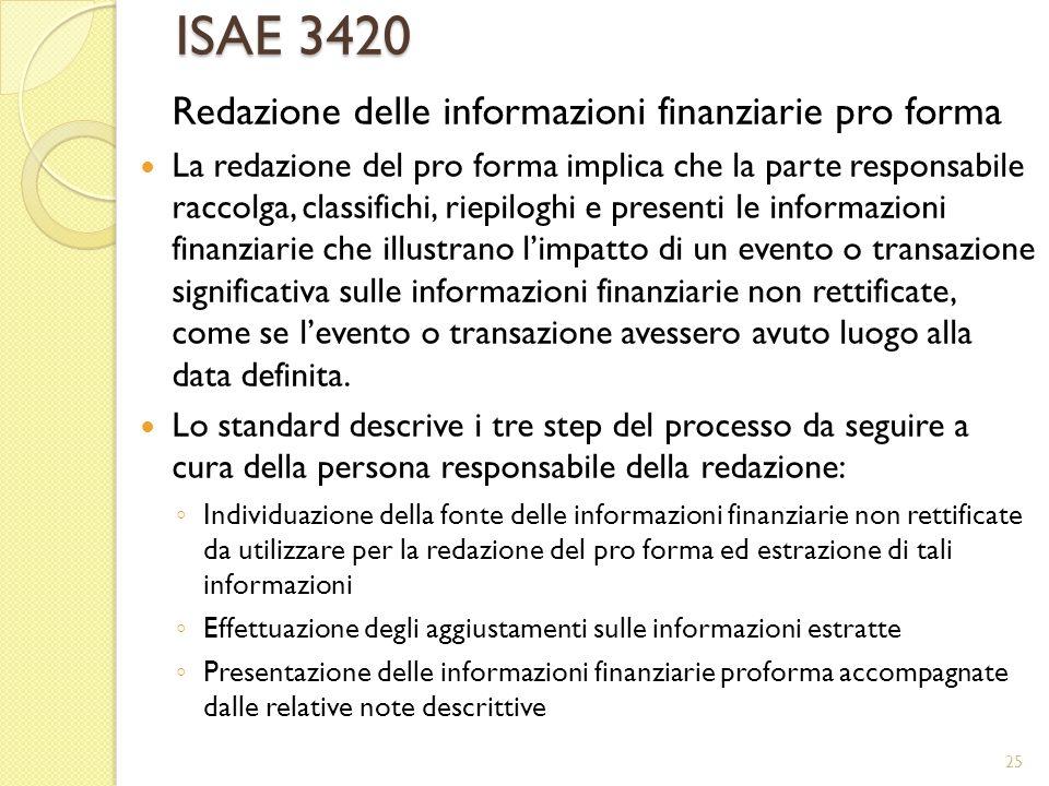ISAE 3420 Redazione delle informazioni finanziarie pro forma