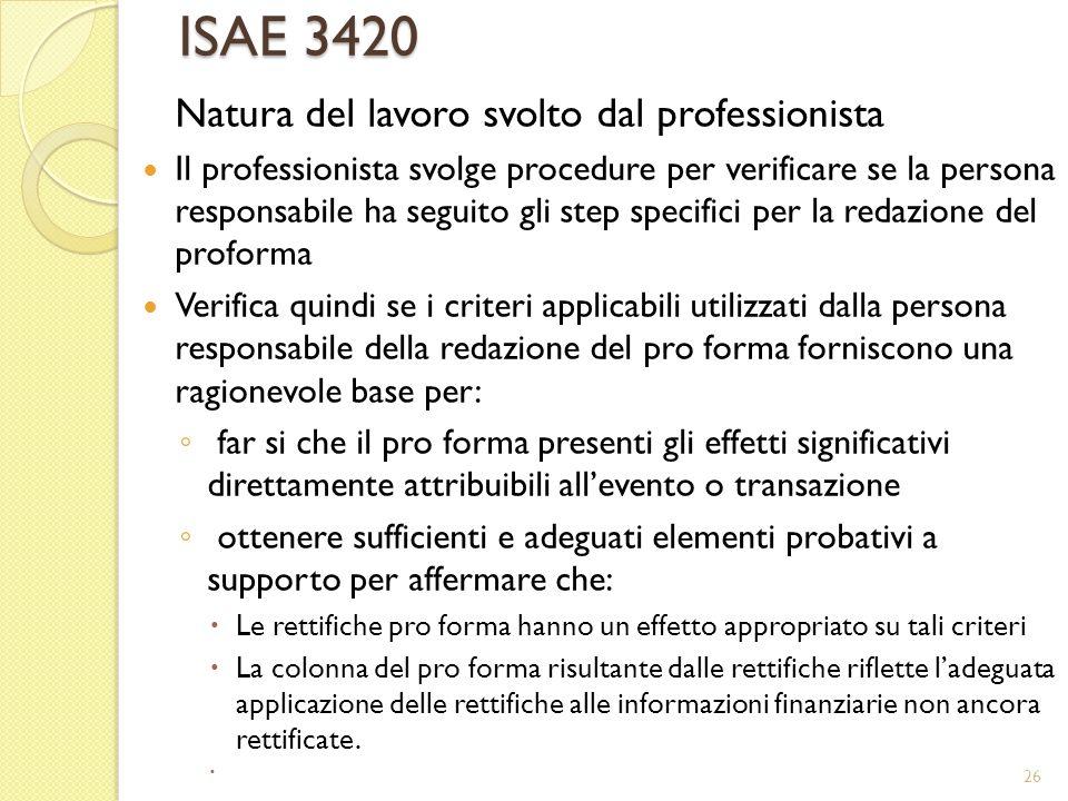 ISAE 3420 Natura del lavoro svolto dal professionista