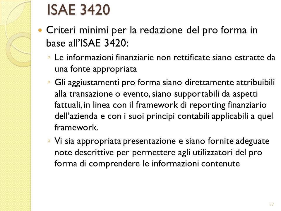 ISAE 3420 Criteri minimi per la redazione del pro forma in base all'ISAE 3420: