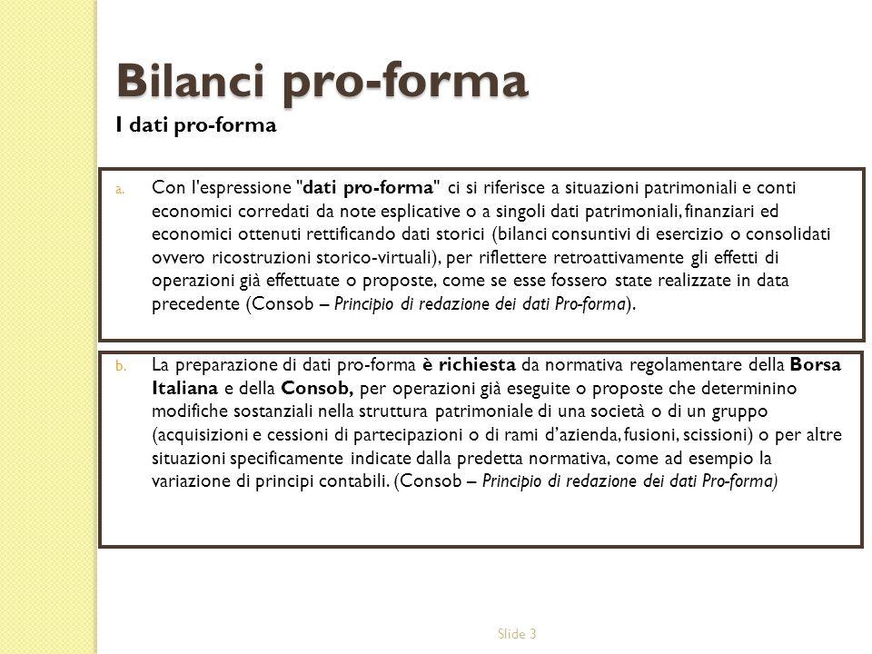 Bilanci pro-forma I dati pro-forma