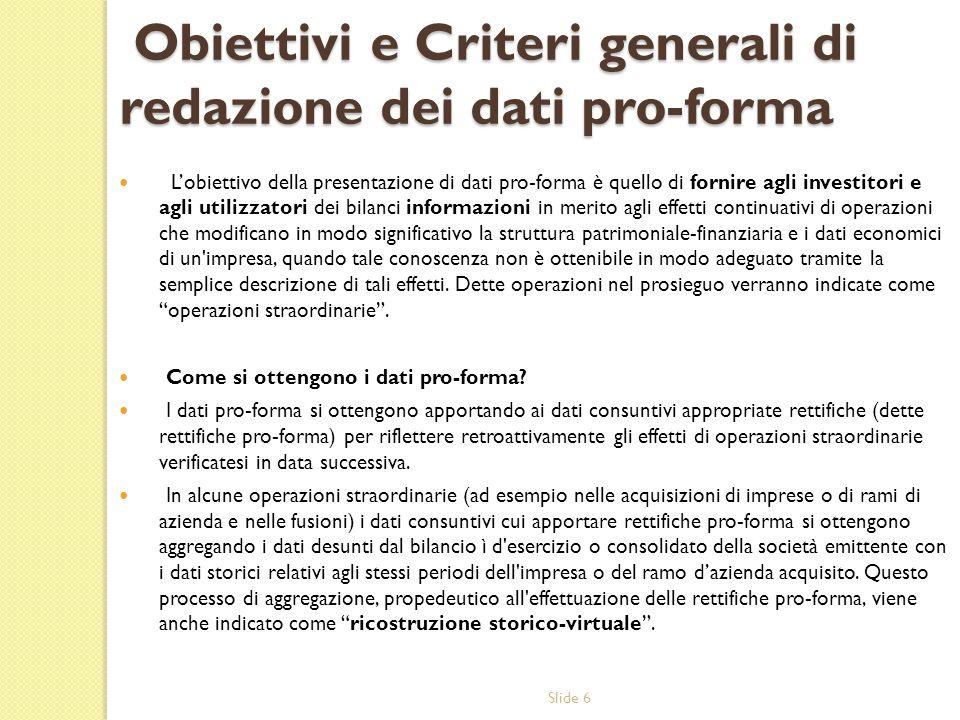 Obiettivi e Criteri generali di redazione dei dati pro-forma