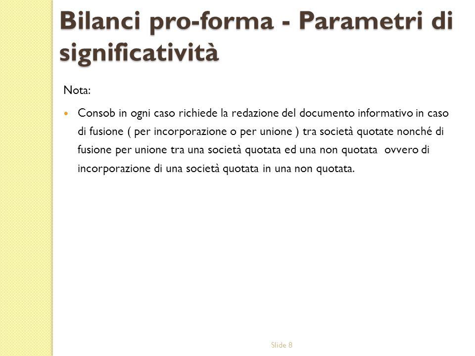 Bilanci pro-forma - Parametri di significatività