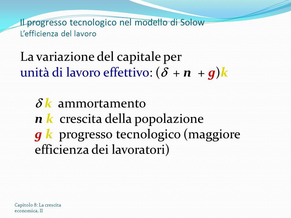 Il progresso tecnologico nel modello di Solow L'efficienza del lavoro
