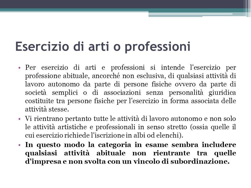 Esercizio di arti o professioni