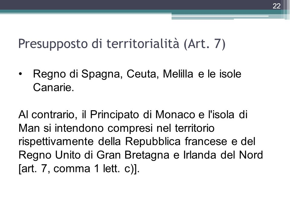 Presupposto di territorialità (Art. 7)