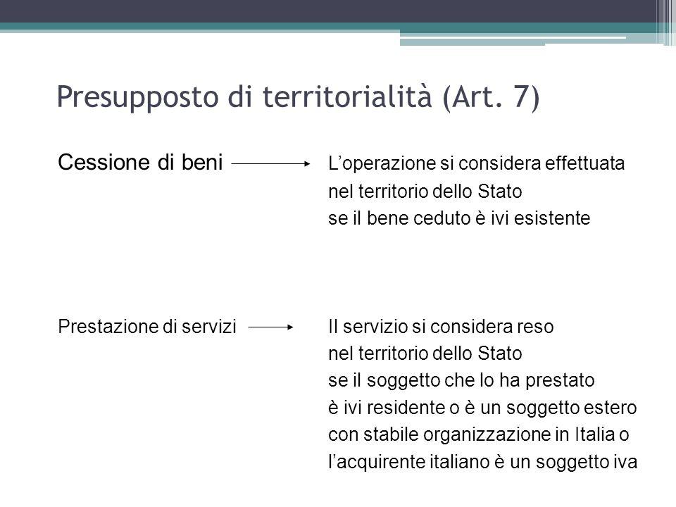Presupposto di territorialità (Art. 7)