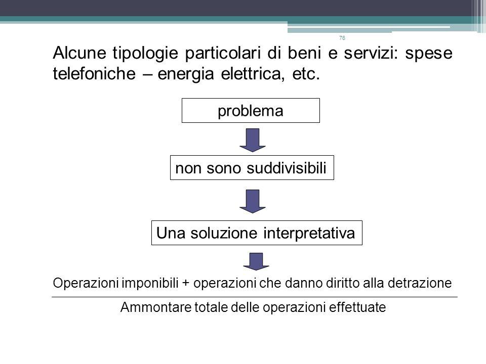 Alcune tipologie particolari di beni e servizi: spese telefoniche – energia elettrica, etc.