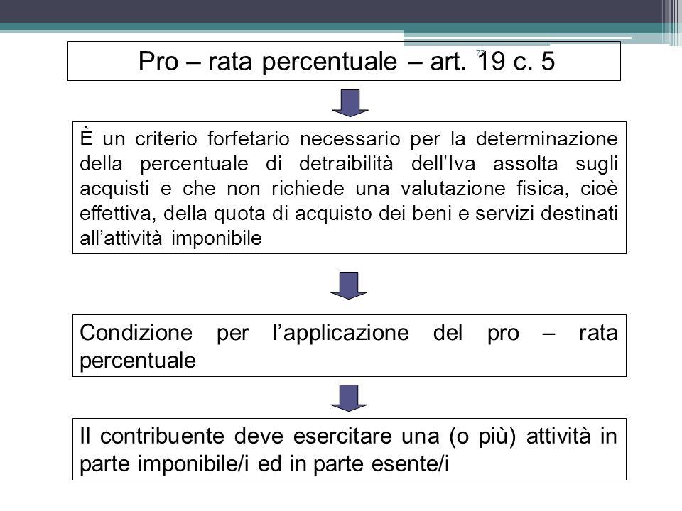 Pro – rata percentuale – art. 19 c. 5