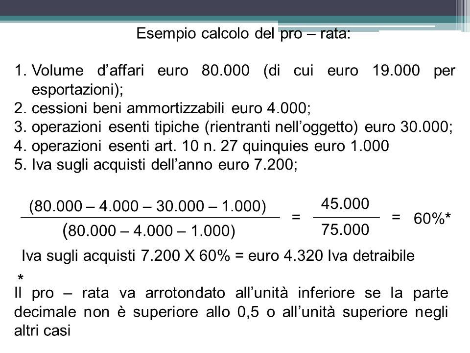 (80.000 – 4.000 – 1.000) Esempio calcolo del pro – rata: