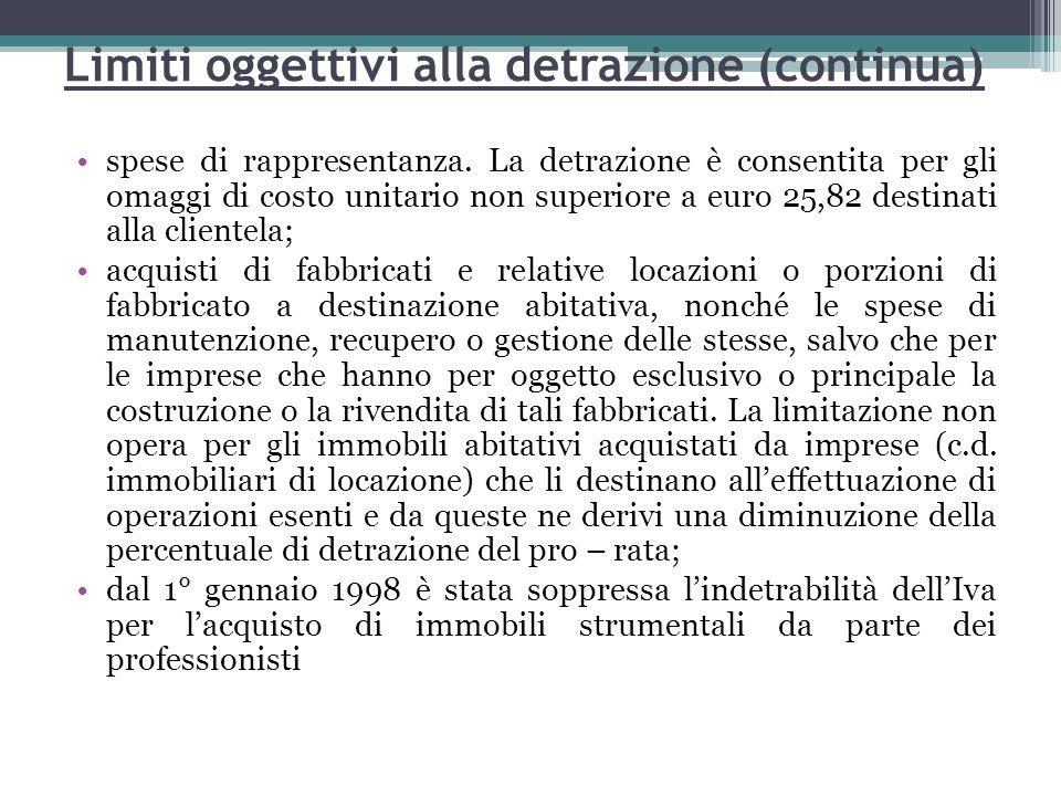 Limiti oggettivi alla detrazione (continua)