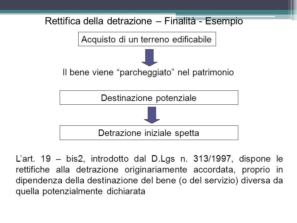 Rettifica della detrazione – Finalità - Esempio