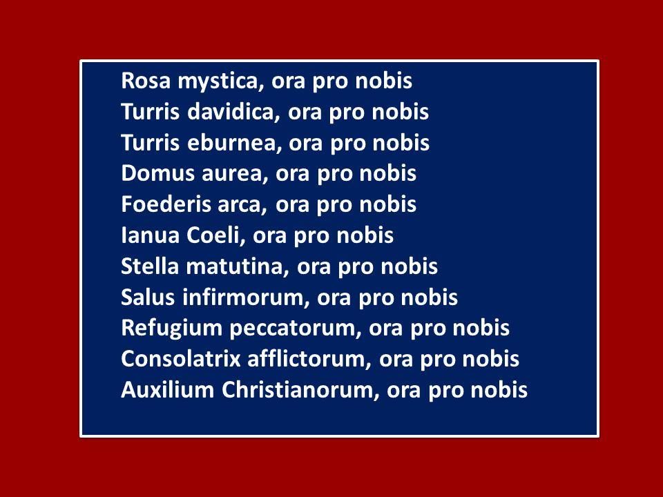 Rosa mystica, ora pro nobis Turris davidica, ora pro nobis Turris eburnea, ora pro nobis Domus aurea, ora pro nobis Foederis arca, ora pro nobis Ianua Coeli, ora pro nobis Stella matutina, ora pro nobis Salus infirmorum, ora pro nobis Refugium peccatorum, ora pro nobis Consolatrix afflictorum, ora pro nobis Auxilium Christianorum, ora pro nobis