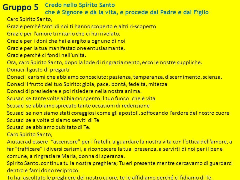 Gruppo 5 Credo nello Spirito Santo