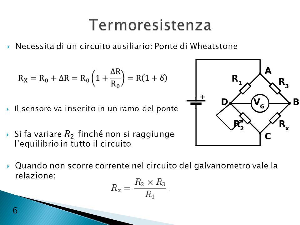 Termoresistenza Necessita di un circuito ausiliario: Ponte di Wheatstone. Il sensore va inserito in un ramo del ponte.