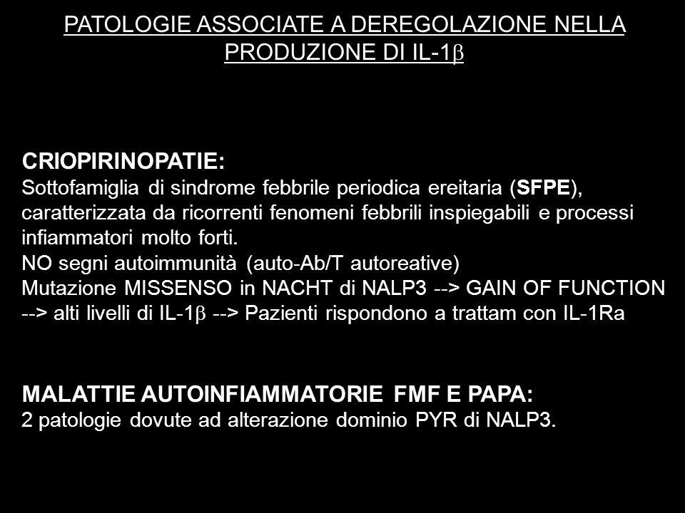 PATOLOGIE ASSOCIATE A DEREGOLAZIONE NELLA PRODUZIONE DI IL-1