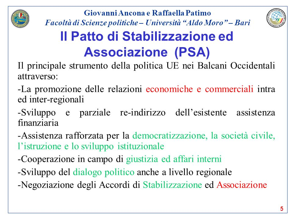 Il Patto di Stabilizzazione ed Associazione (PSA)