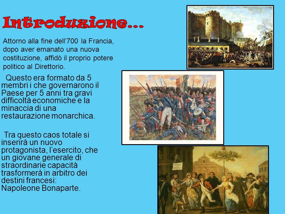 Introduzione… Attorno alla fine dell'700 la Francia, dopo aver emanato una nuova costituzione, affidò il proprio potere politico al Direttorio.